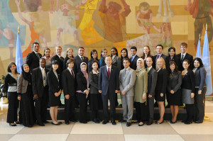 Secretary-General Ban Ki-moon with Youth Delegates