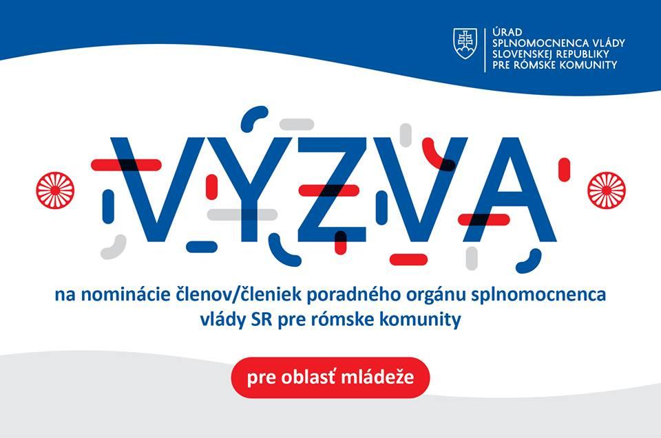 InformácieVýzva na nominácie členov poradného orgánu splnomocnenca vlády SR pre rómske komunity  pre oblasť mládeže
