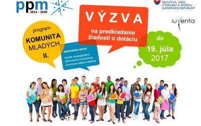 Výzva na predkladanie žiadostí o dotáciu v rámci Programov pre mládež