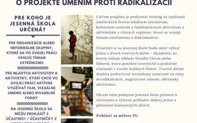 """Projekt – """"Umením proti radikalizácii– jesenná škola pre aktivistov a aktivistky"""""""