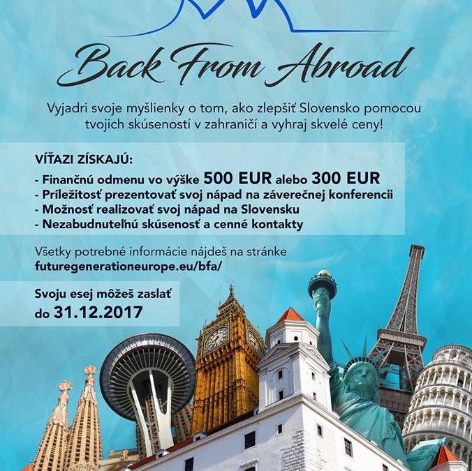 "PonukySúťaž – ""Back from abroad"""