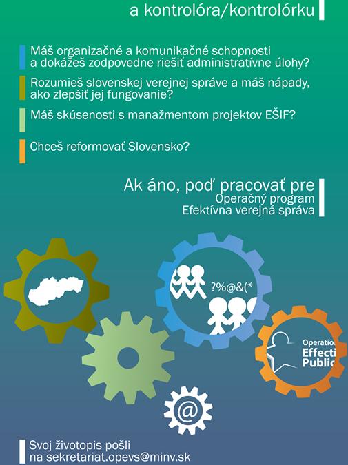 PonukyVoľné pracovné pozície v rámci Operačného programu Efektívna verejná správa