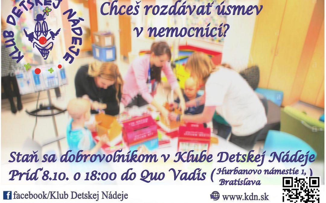 PonukyNábor dobrovoľníkov pre Klub Detskej Nádeje