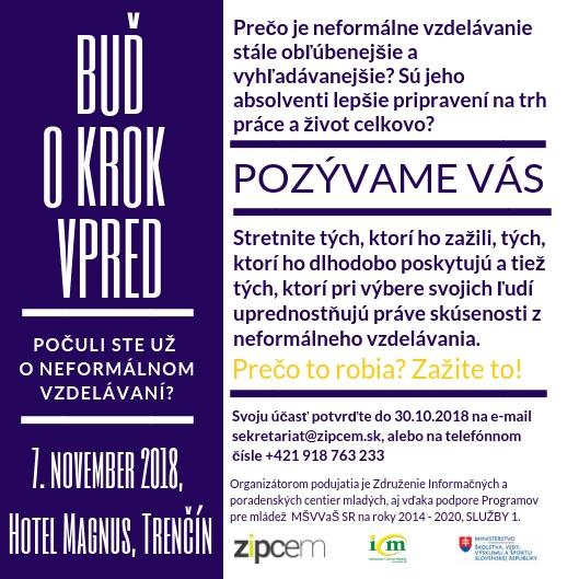 """PonukyKonferencia """"Buď o krok vpred!"""" o neformálnom vzdelávaní"""